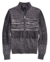 Guess - Gray Bond Leather Trimmed Sweater for Men - Lyst