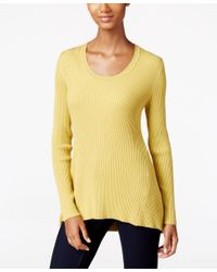Style & Co. | Yellow Petite Scoop-neck Sweater, Only At Macy's | Lyst