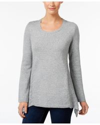 Style & Co. | Gray Petite Pointelle-detail Sweater, Only At Macy's | Lyst