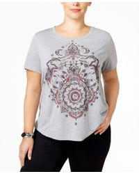 Style & Co. | Gray Plus Size Medallion Graphic T-shirt, Only At Macy's | Lyst