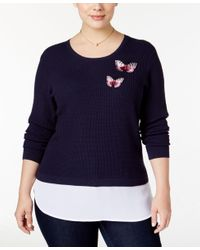 INC International Concepts | Blue Plus Size Waffle-knit Layered-look Sweater, Only At Macy's | Lyst