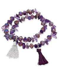 Macy's - Purple Inspired Life 2-pc. Set Stone And Tassel Stretch Bracelets - Lyst