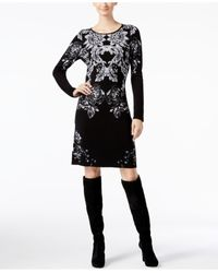 INC International Concepts | Black Intarsia Sweater Dress, Only At Macy's | Lyst