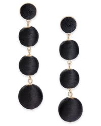 INC International Concepts - Black Gold-tone Graduated Thread-wrapped Linear Drop Earrings - Lyst
