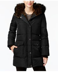 Kenneth Cole - Black Faux Faux-leopard-lined Hooded Puffer Coat - Lyst