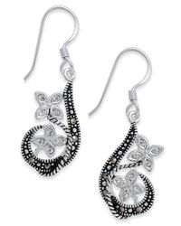 Macy's - White Marcasite & Crystal Flower Drop Earrings In Fine Silver-plate - Lyst