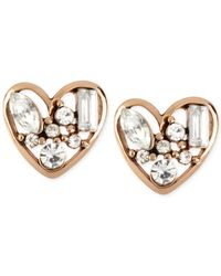 Betsey Johnson - Metallic Rose Gold-tone Crystal Heart Stud Earrings - Lyst