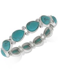 Nine West - Blue Colored Stone Stretch Bracelet - Lyst