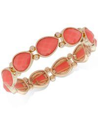 Nine West - Pink Colored Stone Stretch Bracelet - Lyst