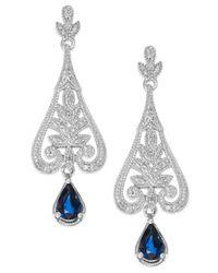 Macy's | Multicolor Sapphire (1-1/10 Ct. T.w.) And Diamond (1/8 Ct. T.w.) Drop Earrings In Sterling Silver | Lyst