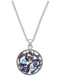 Macy's - Metallic Marcasite & Crystal Vine Disc Pendant Necklace In Fine Silver-plate - Lyst