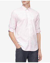 Calvin Klein - Pink Herringbone Texture Shirt for Men - Lyst
