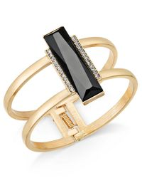 INC International Concepts - Black Gold-tone Pavé & Jet Stone Bar Hinged Bangle Bracelet - Lyst