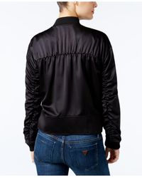 Guess | Black Astor Ruched Bomber Jacket | Lyst