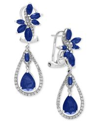 Effy Collection | Blue Sapphire (4-3/4 Ct. T.w.) And Diamond (5/8 Ct. T.w.) Fancy Drop Earrings In 14k White Gold | Lyst