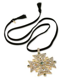 RACHEL Rachel Roy | Black Gold-tone Faux Suede Convertible Pendant Necklace | Lyst