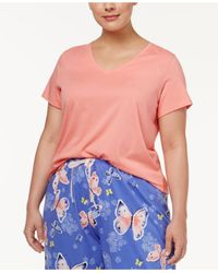 Hue   Multicolor Plus Size V-neck Pajama T-shirt   Lyst