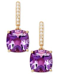 Macy's | Purple Amethyst (3-9/10 Ct. T.w.) And Diamond Accent Drop Earrings In 14k White Gold | Lyst