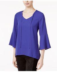 Kensie   Purple Crepe Bell-sleeve Top   Lyst