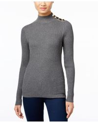 INC International Concepts | Gray Mock-neck Button-trim Sweater, Only At Macy's | Lyst