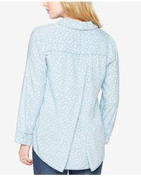 Splendid - Blue Maternity Button-front Blouse - Lyst
