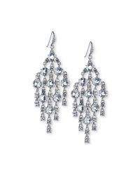 Carolee - White Silver-tone Crystal Chandelier Earrings - Lyst