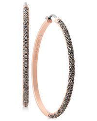 Michael Kors | Metallic Rose Gold-tone Pavé Hoop Earrings | Lyst