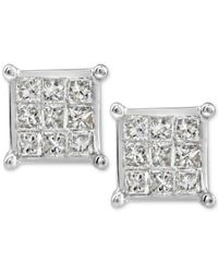 Macy's | Metallic Diamond Quad Stud Earrings (1/4 Ct. T.w.) In 10k White Gold | Lyst