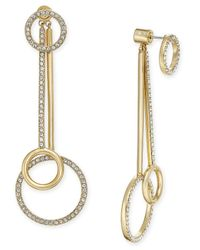 kate spade new york | Metallic Ring It Up Gold-tone Pavé Crystal Pendulum Earrings | Lyst