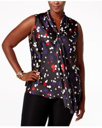 Nine West | Multicolor Plus Size Dot-print Tie-neck Blouse | Lyst