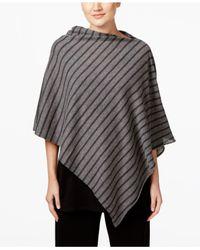 Eileen Fisher | Gray Striped Asymmetrical Poncho | Lyst