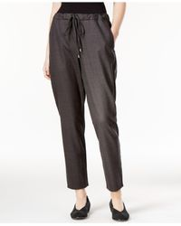Eileen Fisher | Gray Slouchy Wool-blend Ankle Pants | Lyst