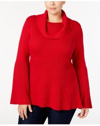Style & Co. | Red Plus Size Cowl-neck Bell-sleeve Babydoll Sweater | Lyst