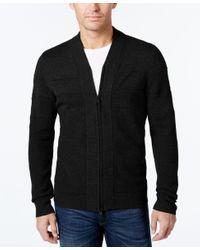 Alfani | Black Men's Big And Tall Full-zip Shawl Collar Cardigan Sweater for Men | Lyst