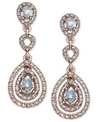 Charter Club | Metallic Pavé Crystal Rose Gold-tone Drop Earrings | Lyst