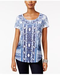 Style & Co. | Blue Printed Studded Top | Lyst