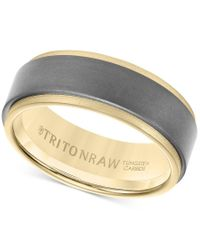 Macy's | Metallic Triton Raw Men's Band In Tungsten And 18k White, Yellow Or Rose Gold for Men | Lyst