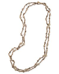 Carolee | Metallic Gold-tone Pavé And Imitation Pearl Beaded Rope Necklace | Lyst