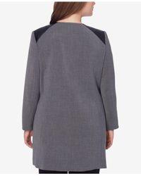 Tahari - Gray Plus Size Faux-leather-trim Topper Jacket - Lyst