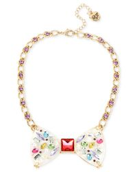 Betsey Johnson | Metallic Gold-tone Multi-stone And Crystal Bow Tie Collar Necklace | Lyst