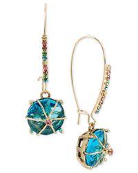 Betsey Johnson   Gold-tone Blue Stone Drop Earrings   Lyst