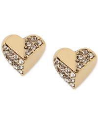 Betsey Johnson | Metallic Gold-tone Crystal Heart Stud Earrings | Lyst