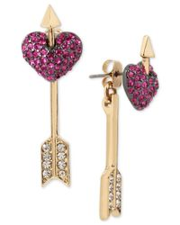 Betsey Johnson | Pink Gold-tone Pavé Heart And Arrow Front And Back Earrings | Lyst