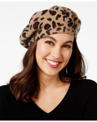 INC International Concepts | Black Leopard-print Beret, Only At Macy's | Lyst