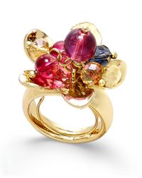 Vera Bradley - Multicolor Gold-tone Beaded Floral Cluster Ring - Lyst