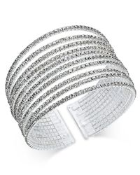 INC International Concepts | Metallic Silver-tone Multi-row Crystal Cuff Bracelet | Lyst