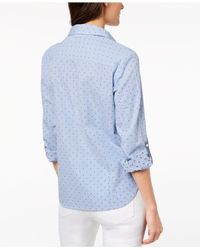 Tommy Hilfiger - Blue Cotton Printed Utility Shirt, Created For Macy's - Lyst