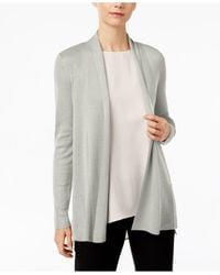 Eileen Fisher | Gray Long-sleeve Open-front Cardigan | Lyst