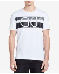 Calvin Klein Jeans - White Men's Stripe Logo-print T-shirt for Men - Lyst