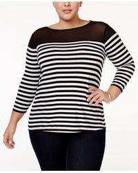 INC International Concepts | Black Plus Size Striped Illusion Top | Lyst